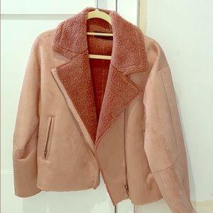 Zara suede baby pink Moto jacket!! Size XL!